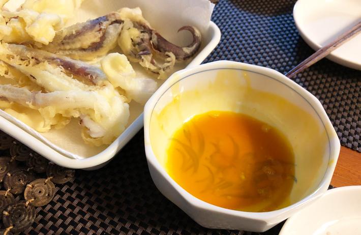 アオリイカ天ぷら 卵黄だし醤油