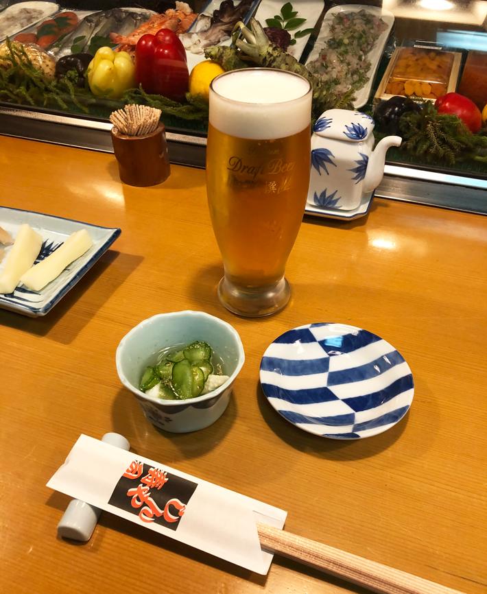 生ビールで乾杯@しんや寿司