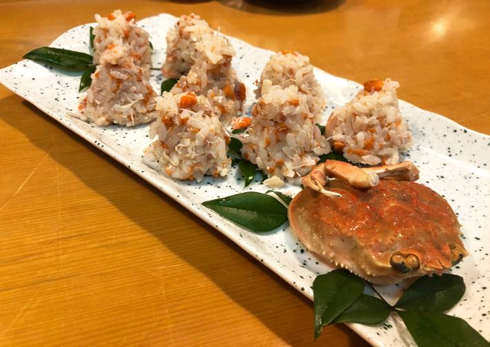 ずわい蟹の特製おにぎり@しんや寿司