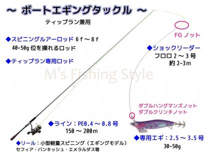 ティップランエギング ボートエギングタックル例